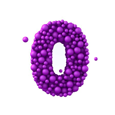 Number 0 made of plastic beads, purple bubbles, isolated on white, 3d render.