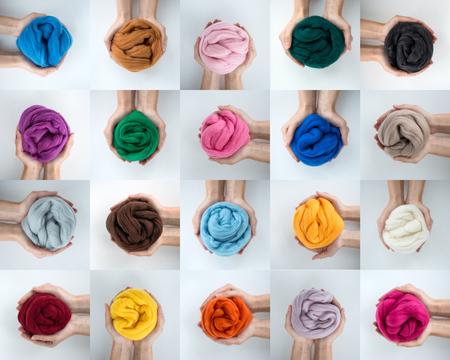 Set of colorful merino wool balls in hands, collage. Stock Photo