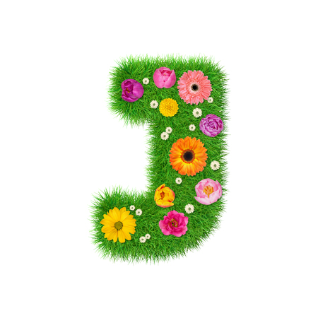 Letter J made of grass and colorful flowers, spring concept for graphic design collage.