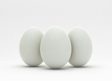 Witte eieren op lichte achtergrond, trendy design concept, 3d illustratie.