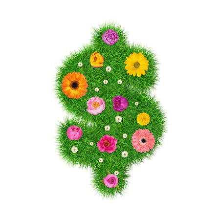Dollar sign made of grass and colorful flowers, spring concept for graphic design collage.