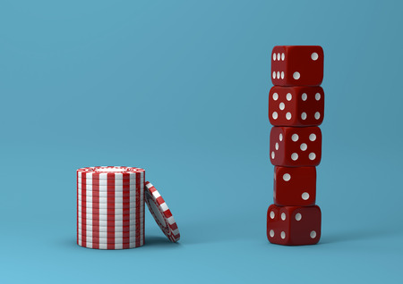 Casino theme. white with red playing chips with plastic dices on blue background, 3d illustration.