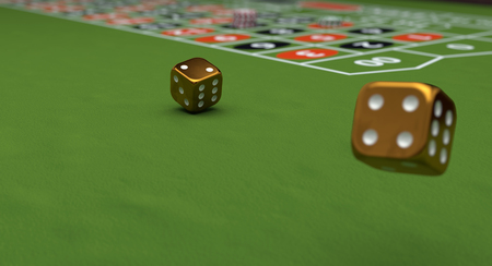 Casino theme, playing chips and gold dices on a gaming table, 3d illustration. Stock Photo