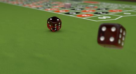 Casino theme, playing chips and red dices on a gaming table, 3d illustration. Stock Photo