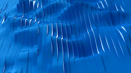 Perspective view of blue trendy stripes, 3d illustration. Stock Photo