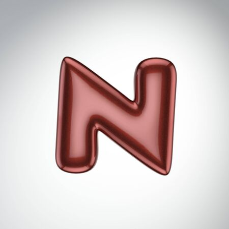 Glossy paint letter N. 3D render of bubble font with glint isolated on white background.