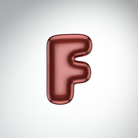 Glossy paint letter F. 3D render of bubble font with glint isolated on white background.