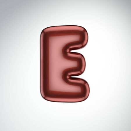 Glossy paint letter E. 3D render of bubble font with glint isolated on white background.