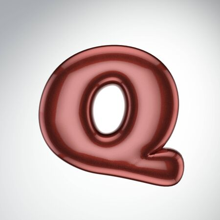 Glossy paint letter Q. 3D render of bubble font with glint isolated on white background.