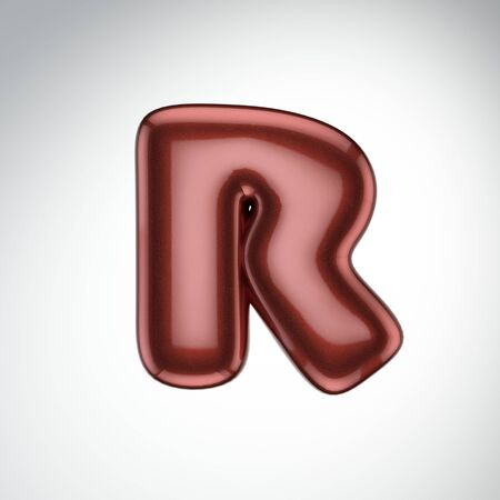 Glossy paint letter R. 3D render of bubble font with glint isolated on white background.