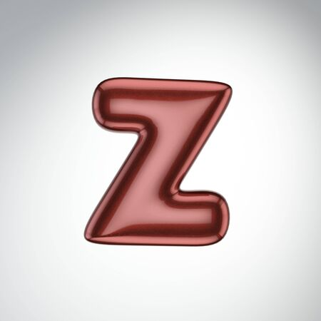 Glossy paint letter Z. 3D render of bubble font with glint isolated on white background.