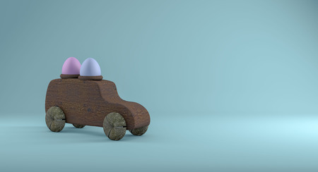 Wooden easter machine with two eggs on the roof, on a turquoise background. 3D render.