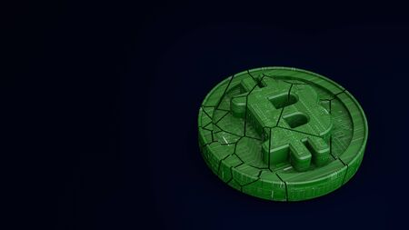 Bitcoin consisting of microcircuits is broken in half. The fall and collapse of the course of the crypto currency. 3d render. Dark blue background. 版權商用圖片