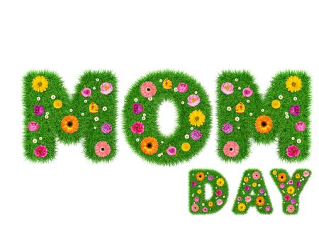 Happy mother day made of grass and colorful flowers, spring concept for graphic design collage. 3d render. 版權商用圖片