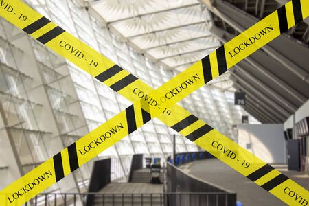 Closing sports arena areas for visiting Dangerous tapes or warning tapes.
