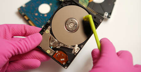 Safe cleaning and verification of your electronic data on media. Concept. Imagens