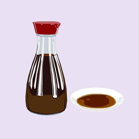 A bottle of soy sauce, poured over on tiny white plate icon avatar Illustration