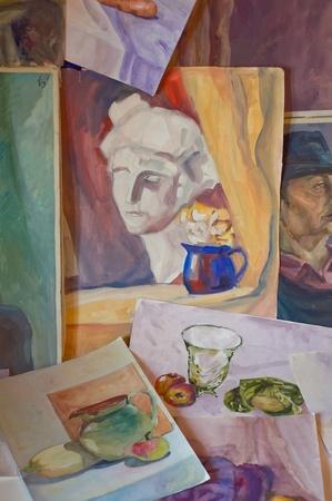 Aquarelles et peintures à l'huile Banque d'images - 9094899