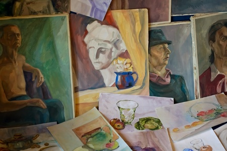 Watercolor paintings and oil paintings Stock Photo