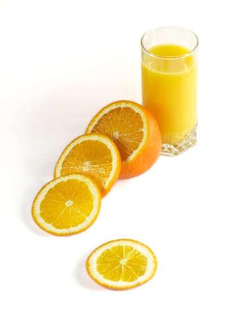 Orange et un verre de jus Banque d'images - 9179271
