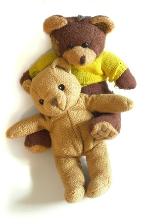 Couple of Teddy bears on white background. Banque d'images - 9179279