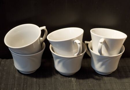 six white cups Stock Photo