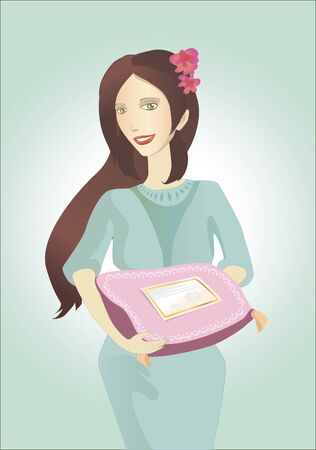 Illustraton of the girl with paper gift certificates  Illustration