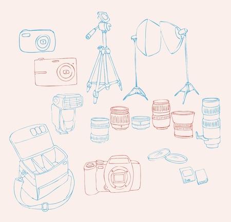 Sketch for a Photographic Equipment (professional digital camera, lenses, camera bag, studio lights, lens filters, camera flash, memory cards, tripod). Vector