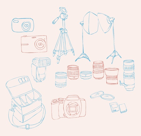Sketch for a Photographic Equipment (professional digital camera, lenses, camera bag, studio lights, lens filters, camera flash, memory cards, tripod). Stock Vector - 9548476