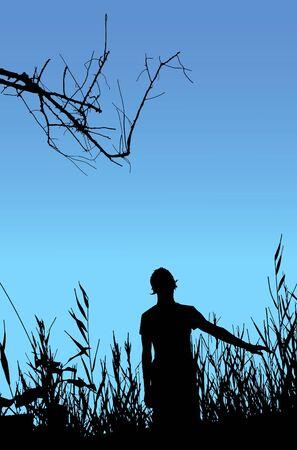 Man on nature, black silhouette on blue background. Illustration