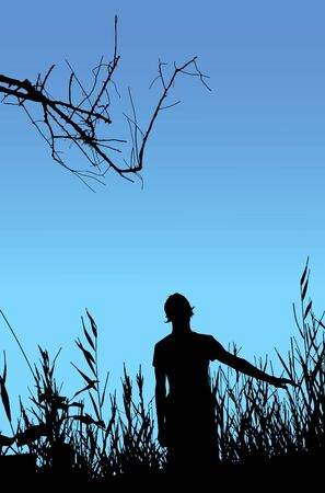 gloaming: Man on nature, black silhouette on blue background. Illustration