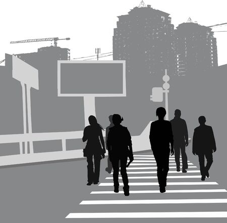 senda peatonal: Grupo de personas que cruzan la carretera, siluetas negras. Vectores