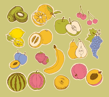 Stylized fruit (orange, strawberry, banana, apple, kiwi, grape, lemon, pear, peach, tangerine, water-melon, melon)