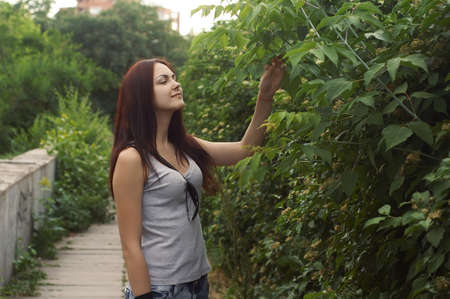 Teen girl relaxed outdoors Stock Photo
