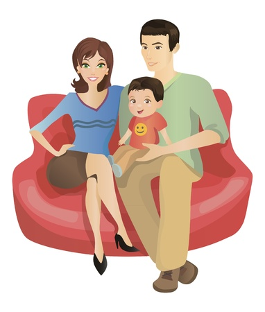 Mother, Father And Son Are Sitting On Sofa