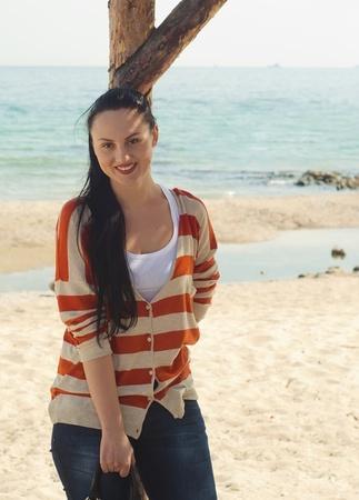 The beautiful girl in the beach