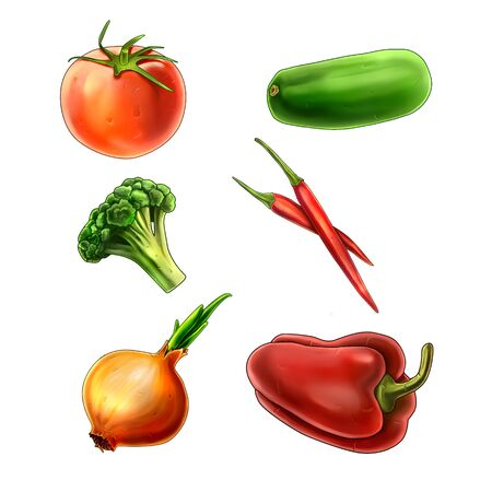 Fine colorful vegetables icon set with 6 pictures