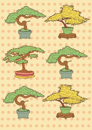 Vector Illustration of Bonsai Trees drawing