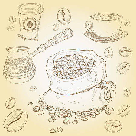 Hand drawn vector set of coffee elements Illustration