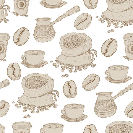 Hand drawn seamless coffee pattern Illustration