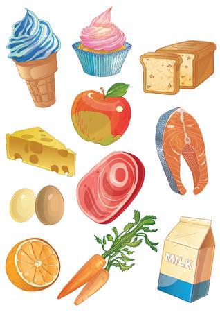 milk cheese: Cartoon food icons