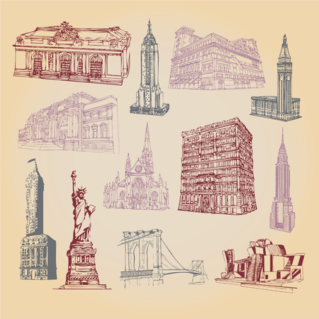 Hand drawn icons of New York city attraction