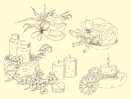 Icônes dessinées à la main de beauté et spa Banque d'images - 50154154