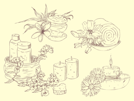 hand drawn icons of beauty and spa