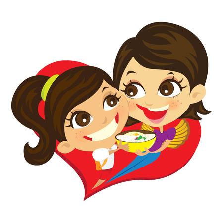 niños riendose: Mamá y yo Vectores