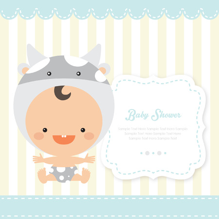 playfulness: baby shower with cow custome Illustration