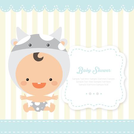 bebé ducha con custome vaca