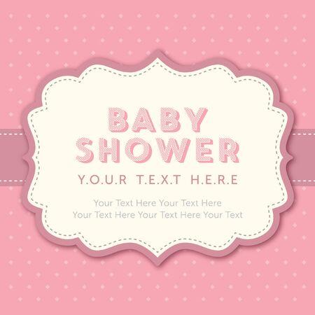 moño rosa: bebé plantilla de ducha de la niña Vectores
