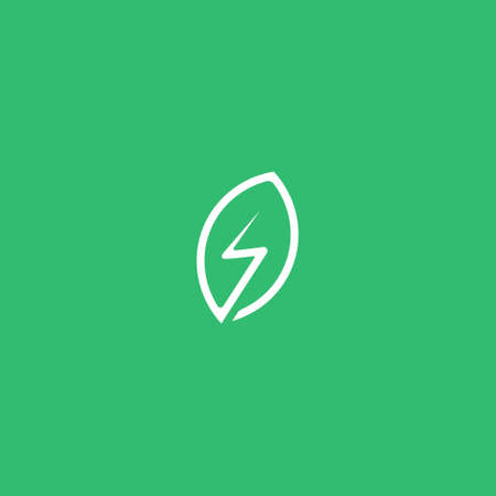 Eco Electric Abstract Green Leaf and Leaves logo Icon Vector Design. Landscape Design, Garden, Plant, Nature, Health and Ecology Vector Logo Illustration. Иллюстрация