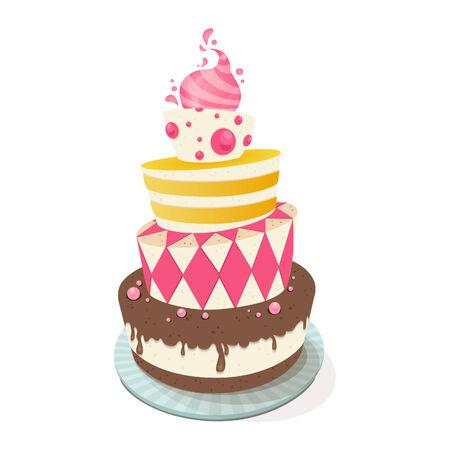 torta: Ilustración vectorial de un pastel de cumpleaños Vectores